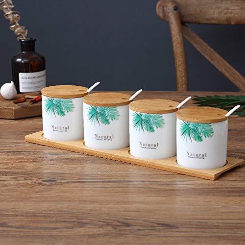 OSL EuropäIsche Kreative Keramik-GewüRzbox, Haushaltskeramik-GewüRzglas-Set, Bambus-Holzschalen-GewüRzbox GewüRzglas/B