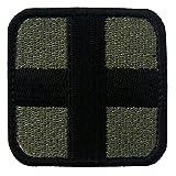 EmbTao Embroidered Medic Cross Tactical Fastener Hook&Loop Patch - Olive & Black