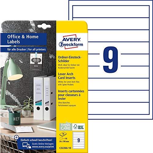AVERY Zweckform C32266-10 Ordnerrücken Einsteckschilder (90 Rückenschilder, 30x190mm auf A4, bedruckbare Rückenschilder zum Einstecken, Mikroperforation, ideal fürs HomeOffice) 10 Blatt, weiß