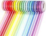PuTwo Washi Tapes, 20 Rollos Washi Tape, 8mm Cinta Adhesiva Decorativa, Cinta Decorativa, Cinta Washi Vintage, Cinta Washi Japonesa, Cinta Washi para Diario, Cinta Decorativa para Manualidades