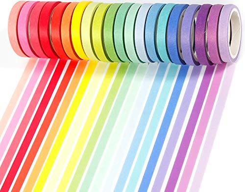 PuTwo Washi Tape, 20 Rollen Washi Tape Pastell, 8mm Washi Tape Set, Klebeband Bunt, Washitape, Washi Tape, Japanisches Washi Tape, Washi Tape für Tagebuch, Dekoratives Tape für Kunsthandwerk