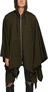 Sunward Coat for Men,Men Zipper Pocket Irregular Patchwork Loose Bat Sleeves Hooded Cape Coat