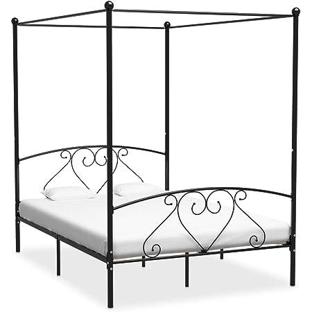 vidaXL Cadre de Lit à Baldaquin Lit Double Lit Adulte Lit Coffre Sommier à Lattes Chambre à Coucher Maison Intérieur Noir Métal 140x200 cm