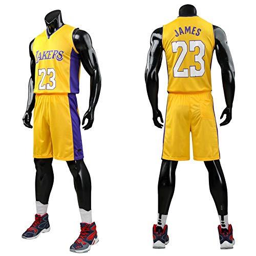 Daoseng Kinder Junge Herren Michael Jordan # 23 Chicago Retro Basketball Shorts Sommer Trikots Basketballuniform Top & Shorts Basketball Anzug (23#Gelb, 2XL/Kind Höhe 155-165CM)