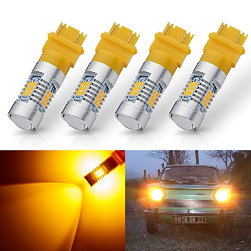 ANTLINE Extremely Bright 3157 3156 3057 4057 4157 3157LL 4157K 3057K 3457 21-SMD 1260 Lumens LED Bulb Replacement Amber Yellow for Car Turn Signal Blinker Side Marker Lights Bulbs (Pack of 4)