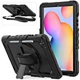 Samsung Galaxy Tab S6 Lite Case with Scree Protector   Herize SM-P610/P615 Case with Pen Holder   Heavy Duty Shockproof Durable Protective Cover with Stand Shoulder Strap for Tab S6 Lite 10.4 Inch