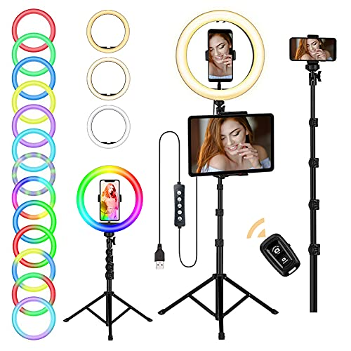 Opard Ringlicht mit Stativ, LED Selfie Ringleuchte mit Stativ und Handyhalterung,12 Farbe & 8 Lichtmodi & 10 Helligkeitsstufen RGB Ringlicht für Live-Stream Fotografie Make-Up Vlog YouTube TikTok