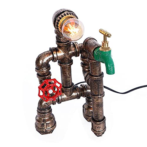 Lámpara De Mesa Retro Steampunk Luz Noche Industrial Tubo Agua Hierro Escritorio Luz con Interruptor De Manija Válvula Roja Y Grifo Verde para Sala Estar Dormitorio
