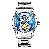 Relojes Reloj de Pulsera de dragón mecánico automático de Marca Hombre Reloj de Acero Inoxidable Big Flower Star Tourbillon Calendario Reloj Impermeable,Azul