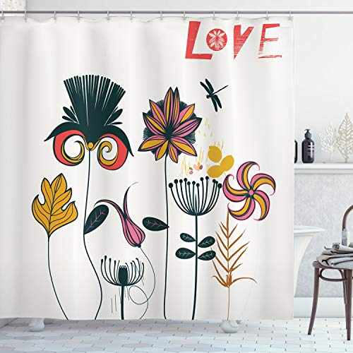 "Ambesonne Dragonfly Shower Curtain, Funky Featured Different Type of Flower Motif Love Mother Earth Themed Bohemian, Cloth Fabric Bathroom Decor Set with Hooks, 75"" Long, Orange Pink"