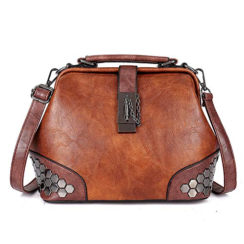 Mn&Sue Gothic Rivet Studded Vintage Doctor Style Cross Body Convertible Bucket Shoulder Handbag for Women (Brown)