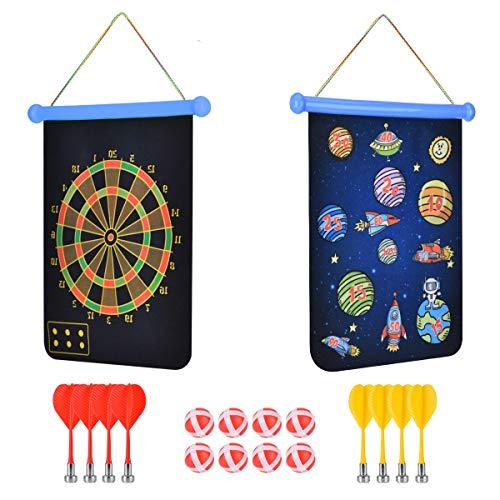 Cozywind Magnetische Dartscheibe Dartboard Dartspiel Set Sicherheit für Kinder Erwachsene Freizeit Sport mit 8 Dartpfeile und 8 Bällen, Doppelseitige Magnet Dart für drinnen und draußen (Blau)