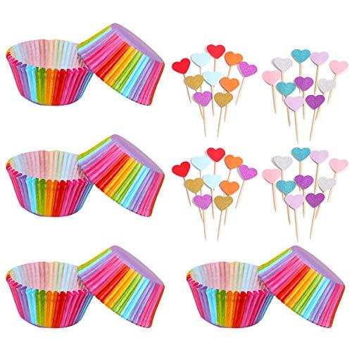 400 Pezzi Pirottini di Carta per Pasticcini Forno Arcobaleno, Pirottini di Carta per Cupcake per Muffin Decorazione Baking Cup per Stampi da Forno per Feste di Matrimonio e Compleanno Feste di Natale