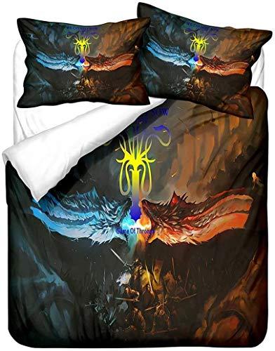 YOMOCO Game of Thrones Children's Bedding Set 3D Creative Pillowcase Superfine Fibre Girls' Bedding Duvet Cover Suitable for All Seasons Full Size (X03, SuperKing 260 x 220 cm)