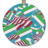 QgjayjqQ Usbekistan-Flagge mit Amerika-Flagge Ornament (r&) personalisierte Keramik Urlaub Weihnachten Ornament Ideen 2019