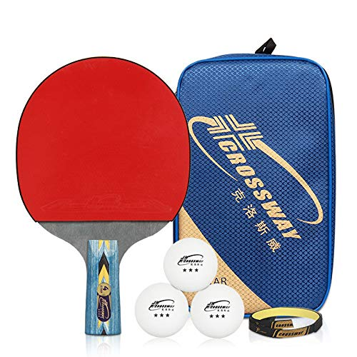 ZJH Raqueta de Tenis de Mesa Profesional, Paleta del Ping-Pong del Pegamento del revés de Doble Cara de Madera sólida de 5 Capas con 3 Bolas de Ping-Pong,Shorthandle