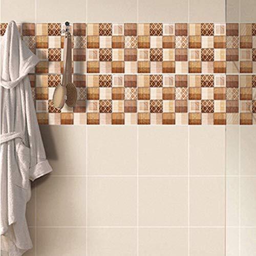 TongN 6/12 piezas de imitación 3D Baldosa de cerámica Pegatinas de pared Mármol Imitación Etiquetas engomadas autoadhesivas a prueba de agua Cuarto de baño Modificación del piso de la cocina 20 * 20cm