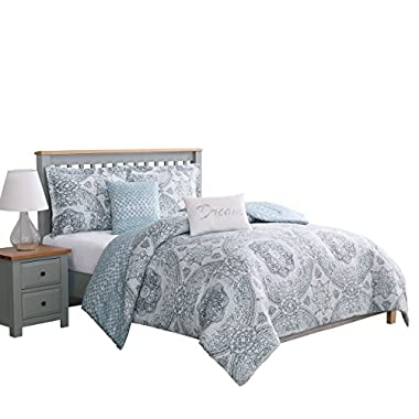 Boho Living Piccadilly 5-Piece Reversible Comforter Set, Full/Queen, Blue/Gray
