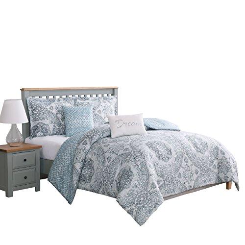 Boho Living – Comforter Set   Picadilly Queen Bedding   5 Piece Set   Includes Reversible Comforter, 2 Decorative Pillows & 2 Pillow Shams   100% Polyester   Microfiber   Bedroom Décor   Blue/Gray
