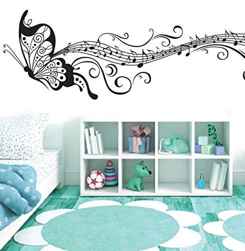 Waofe schwarz Musik Schmetterling Wand Dekor Stave Hinweis Wandaufkleber Pvc Wandtattoos/Vinyl Home Dekoration Für Kinderzimmer Abnehmbar