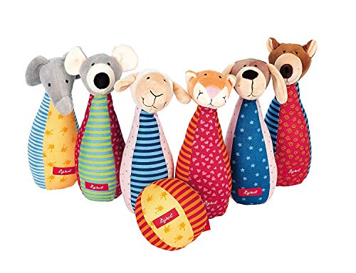 sigikid, Mädchen und Jungen, Kegelspiel mit 6 Tierfiguren, Mehrfarbig, 49520