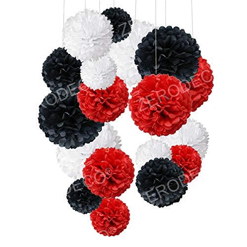 Zerodeco Rosso Bianco e Nero 18 Pezzi Pompon in Carta Velina Decorativo Palla Fiore per Il Compleanno Decorazione della Festa Nuziale