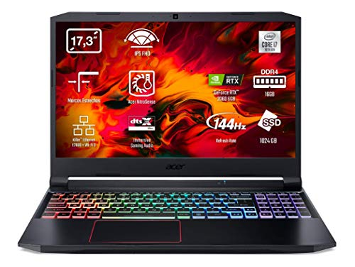 Acer Nitro 5 AN517-52 - Portátil Gaming 17.3' FullHD (Intel Core i7-10750H, 16B RAM, 1TB SSD, Nvidia RTX2060, Sin SO), Teclado QWERTY Español, Color Negro