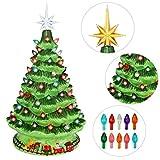 "Joiedomi 15"" Tabletop Ceramic Christmas Tree with Train, Prelit Xmas Tree with Extra..."