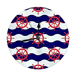 txregxy Modern Wall Clock Maritime Mood Rose Compass Decorative Round Silent Clock