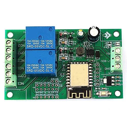 Runtodo ESP8266 ESP-12F MóDulo de Relé WIFI 2CH 5V / 8-80V Interruptor de Relé Placa de Desarrollo para Ide Casa Inteligente Control Remoto por la AplicacióN