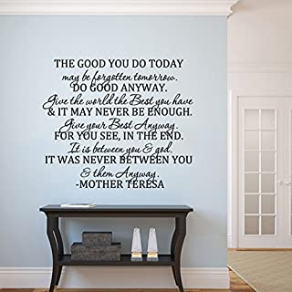 MairGwall Positive Saying Mother Teresa Quote Nursery Bedroom Decal-Do Good Anyway-Christan Gift Bedroom Headboard Wall Graphics(X-Large,Black)