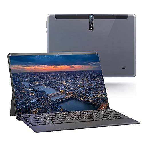 Tuneway Tableta PC Pantalla HD de 10 Pulgadas Tabletas de Llamadas de TeléFono Android 3G Tarjetas de Doble SIM con Teclado Desmontable Enchufe de la UE, Gris