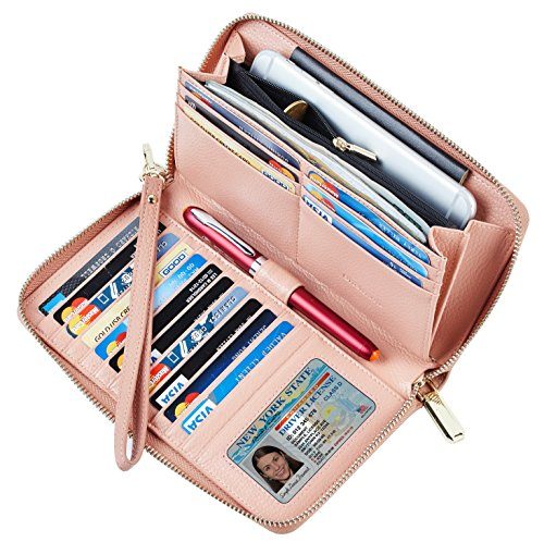 Chelmon Womens Wallet Leather RFID Blocking Purse Credit Card Clutch(genuine leather pink)