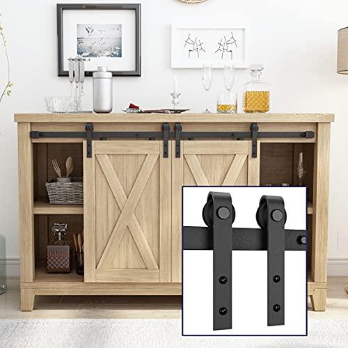 SMARTSTANDARD 4FT Super Mini Double Door Cabinet Sliding Barn Door Hardware Kit -Smoothly and Quietly -for TV Stand, Closet, Window -Fit 12