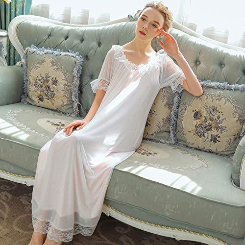 YPDM Badjas zomer, plus size korte mouwen modal lang nachthemd vrouwelijke zomerjurk palace schattige prinses losse nachtkleding nachtkleding vrouwelijke pyjama