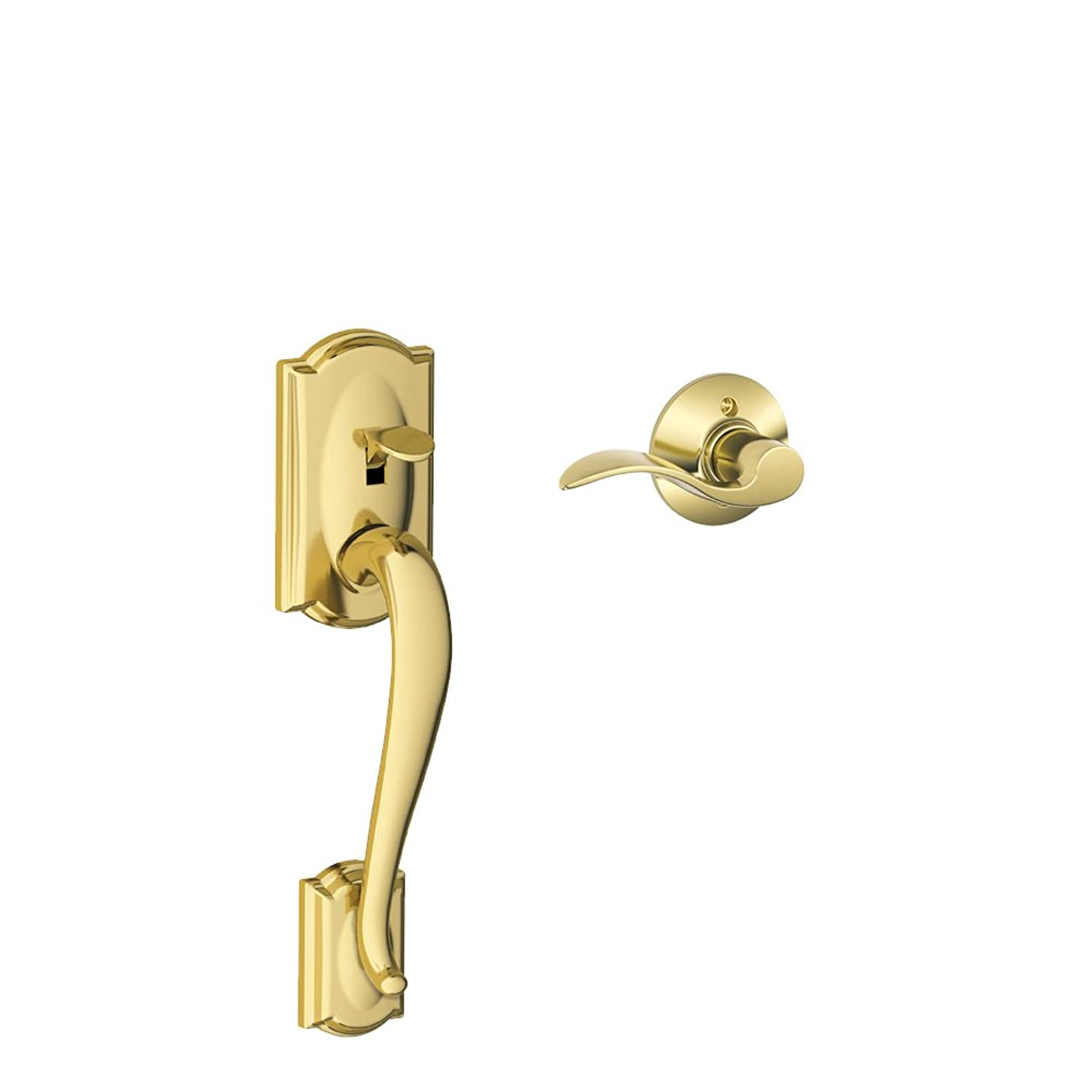 Schlage Lock Company Camelot Front Entry Handle Accent Right-Handed Interior Lever (Bright Brass) FE285 CAM 505 ACC 605 RH