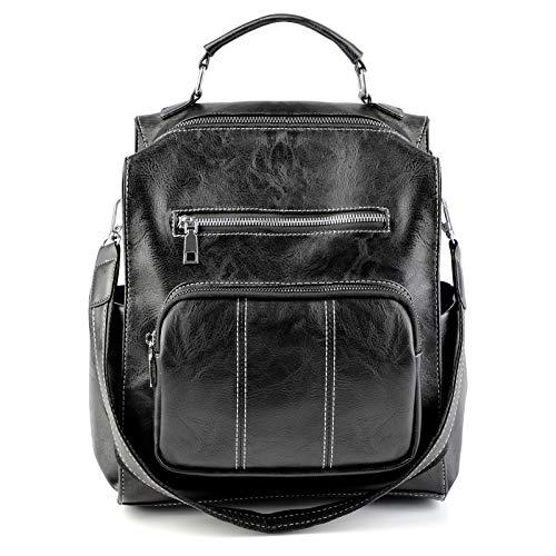 Damen Rucksack Handtasche Leder Reisetasche | Bageek Backpack Damen PU Leder Mode Schultertasche Mädchen Umhängetaschen Schwarz Reiserucksack