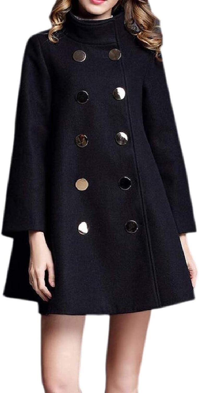 CBTLVSN Women's ALine Loose Fit Wool Blend Winter DoubleBreasted Pea Coat