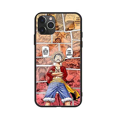 DNZJHHM Anime One Piece Straw Hat Luffy Roronoa Zoro Tempered Glass Phone Case for iPhone 6 6S 7 8 Plus X XS Max 11 PRO 12 Mini Max SE 2020 Fashion Design Phone Back Cover