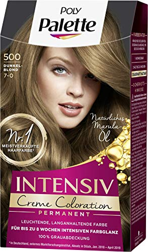 SCHWARZKOPF POLY PALETTE Intensiv Creme Coloration 500/7-0 Dunkelblond, 3er Pack (3 x 128 ml)