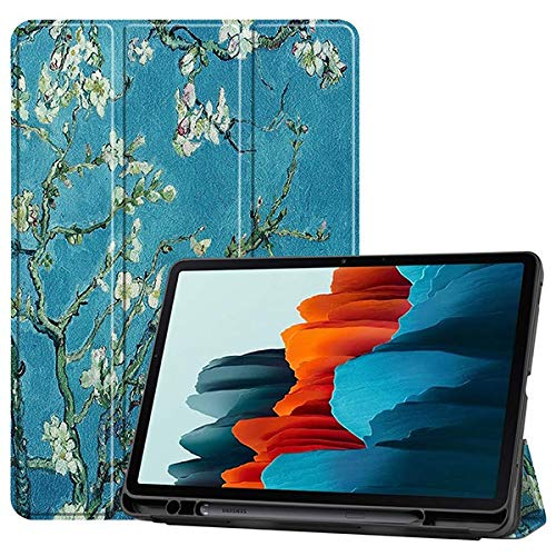 HHF Pad Accesorios para Samsung Galaxy Tab S7 SM-T870 T875, Soft TPU Back Shell Magnetic Smart Case para Samsung Galaxy Tab S7 con Soporte de lápiz (Color : Flowers)
