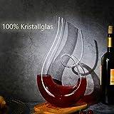 Cheers Karaffe Rotwein Dekanter Kristallglas Wine Decanter Dekantierer Glas Weinkaraffe 1,2 Liter Top Wein Geschenk Zubehör Weinbelüfter Wein Karaffen Dekantierausgießer Geschenkset Dekantier Deko - 2