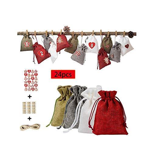 Sayla 1-24 Adventskalender Weihnachten Geschenkbeutel mit Kordelzug, 24 PCS Stücke Urlaub Geschenk Paket Süßigkeiten Stoffbeutel Geschenksäckchen, Weihnachtskalender Bastelset Lino Amarillo (A) (C)