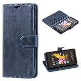 Mulbess Handyhülle für Huawei Honor 7X Hülle Leder, Honor 7X Handy Hüllen, Vintage Flip Handytasche Schutzhülle für Huawei Honor 7X Case, Navy Blau