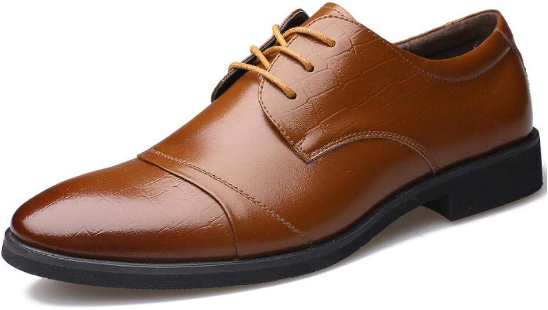 Mans skor läder Springaa  Fall Fall Fall Comfort  modeable  Business  Pointed Toe  Lace up  svart  bspringaaa  Party & Evening  Formal skor  spännande kampanjer