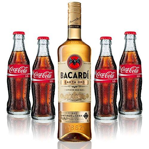 Cuba Libre Set - Bacardi Carta Oro Gold Rum 1L (40% Vol) + 4x Coca Cola 0,2L - Inkl. Pfand MEHRWEG