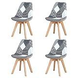 Sillas de Comedor Modernas de Mediados del Siglo, Juego de 4 sillas tapizadas de Retazos con Patas de Silla de Material de Haya Maciza para la Sala de Estar del Dormitorio