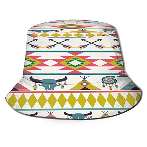 Sombrero de Pescador Unisex Triángulo de Patrones sin Fisuras étnicas geométricas abstractas Plegable De Sol/UV Gorra Protección para Playa Viaje Senderismo Camping