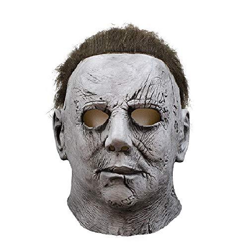 DMAR Michael Myers Maske, Vollkopf Latex Halloween Cosplay Prop, Horrorfilm Killer Maske mit Haaren, Perfekt für Karneval & Halloween Grau