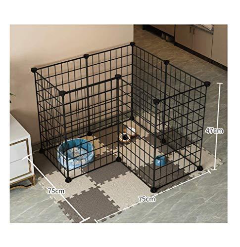 GBY Haustierzaun, L-förmiger Metall-Haustierzaun, Trainingsgeländer für Katzen und Hunde, geeignet für kleine Hunde, schwarz, 75 * 75 * 47 cm